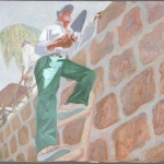 "Tio Beto on the Wall, 33"" x 37"", 1988"