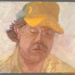 "Self portrait with Yellow Hat, 18.5"" x 28"", 1990"