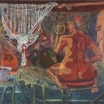 """Leda and the Swan, 56.5"""" x 51.5"""", 1996"""