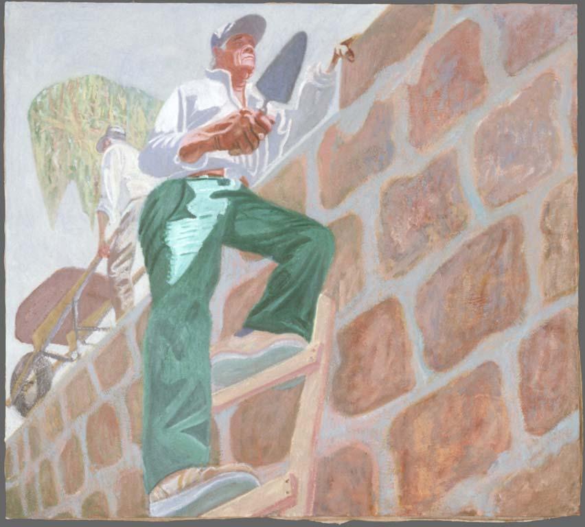 "Tio Beto on the Wall, 33"" x 37"", 1988"