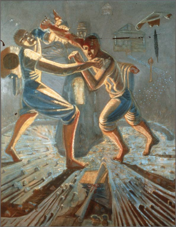 "Two Brothers Fighting, 88"" x 65"", 1986"