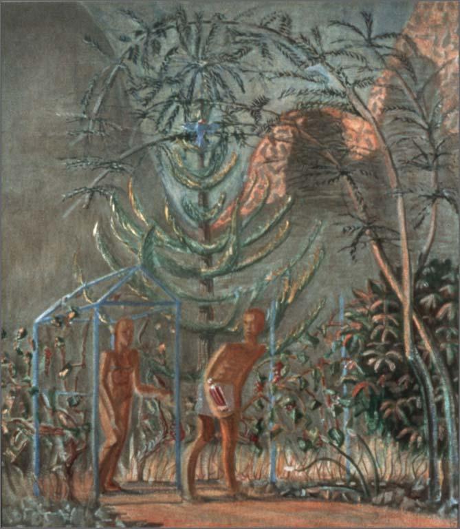 "Couple in the Garden, 54.25"" x 48"", 1985"