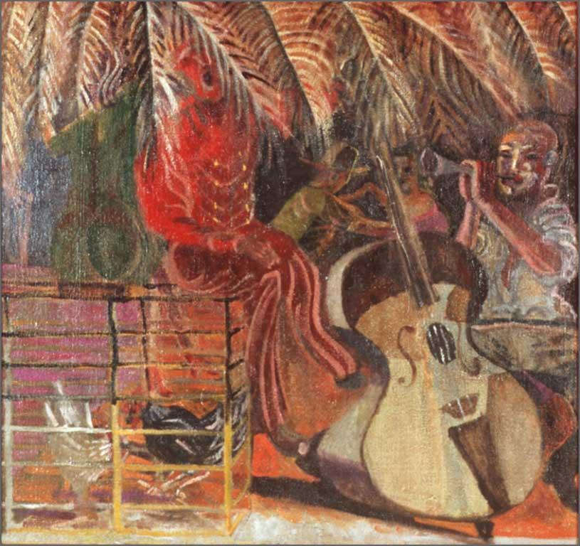 """Los Musicos, 39.74"""" x 37.5"""", 1991-92"""