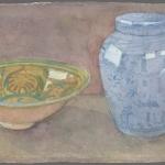 Ceramic bowl and urn, 1994
