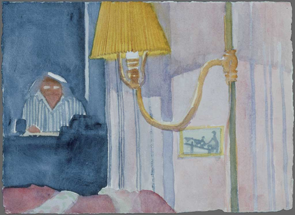 Self portrait with wall lamp, 1990