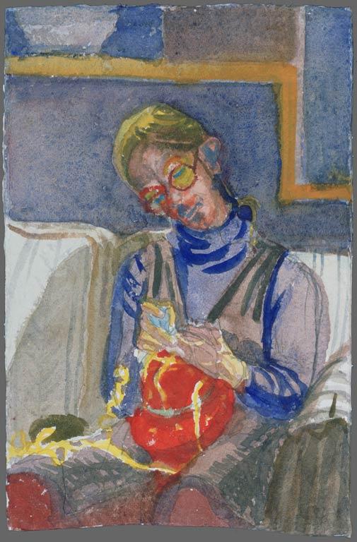 Alison knitting, 1992