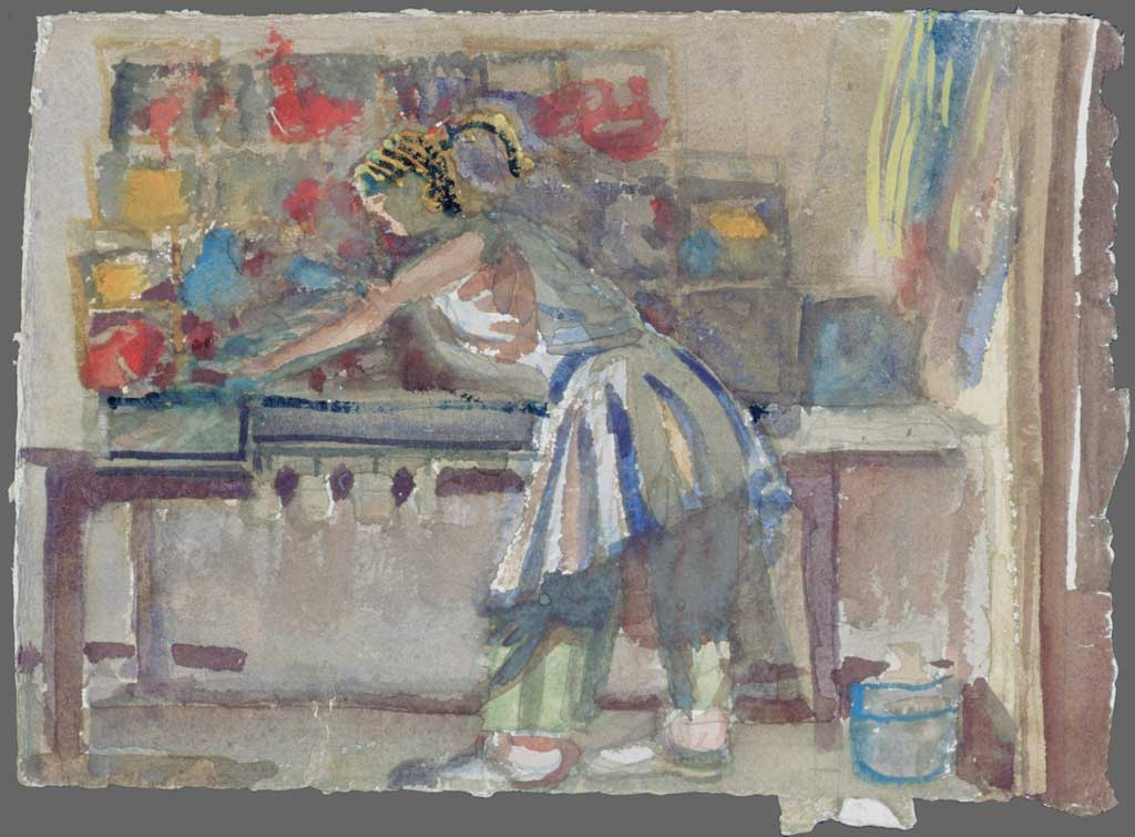 Alison in her knitting studio, 1993