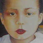 """<div id=""""copy"""">© Lorraine García-Nakata all rights reserved</div>Monica<br />4' x 4'  Oil On Canvas, 1990"""