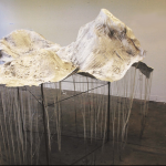 "<strong>Joanne Wang</strong>    5' x 6'6"", Flour, plaster bandage, wire, steel, twine, tea, ink"