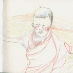 """<strong>Lulu Zilinskas</strong> Untitled (Sketches 4), 5 x 12 1/2"""", colored pencils and micron pens"""