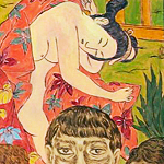 """Two Geishas/Sushi House"", acrylic on canvas, 2011 <div id=""copy"">© José Lozano</div>"