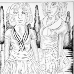 """Amazons From El Paso"", ink on paper, 2011 <div id=""copy"">© José Lozano</div>"