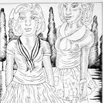"""""""Amazons From El Paso"""", ink on paper, 2011 <div id=""""copy"""">© José Lozano</div>"""