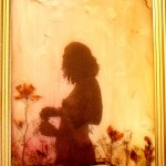 "<strong>Grace Hazel Simpson</strong>   <em>Silhouette One</em>, 12.5x 6"", 35mm film, photo transfer, pressed flowers, watercolor Paint, matte medium"