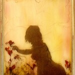 "<strong>Grace Hazel Simpson</strong>,   <em>Silhouette Two</em>, 13""x16"", 35mm film, photo transfer, pressed flowers, watercolor Paint, matte medium"