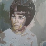 "<strong>Michelle Bueno</strong>   <em>Mami Lina</em>,18""x14"", acrylic"