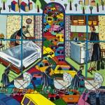 """Three Baby Strollers"", acrylic on canvas, 36"" x 46"", 2014<div id=""copy"">© Myra Eastman</div>"