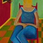 """""""Bag on Head"""", acrylic on canvas, 18"""" x 24"""", 2014<div id=""""copy"""">© Myra Eastman</div>"""
