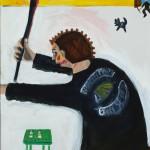 """Hell's Angel Jacket"", acrylic on canvas, 18"" x 24"", 2014<div id=""copy"">© Myra Eastman</div>"
