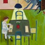 """Woman at Table"", acrylic on canvas, 18"" x 24"", 2014<div id=""copy"">© Myra Eastman</div>"