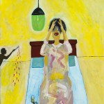 """Pills on Bed"", acrylic on canvas, 18"" x 24"", 2014<div id=""copy"">© Myra Eastman</div>"