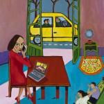 """Computer on Table"", acrylic on canvas, 2014 18"" x 24"", 2014<div id=""copy"">© Myra Eastman</div>"
