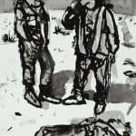 """Soldiers with Dead Body"", ink on paper, 18"" x 24"", 2005<div id=""copy"">© Myra Eastman</div>"