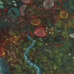 """The Central Paradise""  110 x 50"" oil, mica, seashells, etc. on canvas 1997<div id=""copy"">© Frank Galuzska</div>"