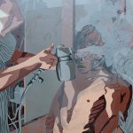 "<b>Arrival 2: Braceros being sprayed with DDT, 1958</b>, screen print, 30""x44"" 2012"