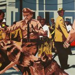 "<b>Workings of the State Apparatus: Walter Gadsden being attacked, Birmingham, May 4, 1964</b> <i>(source: Bill Hudson, NY Times)</i>, screenprint, 30""x44"", 2016"