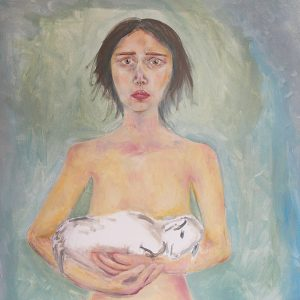 """Untitled Self Portrait (Scapegoat), oil on canvas, 4' x4.5', 2017 <div id=""copy"">© Natalie Ortiz</div>"