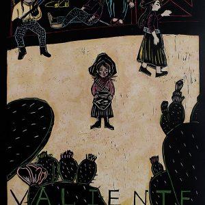 """Valiente"", watercolor & woodblock print, 22"" x 30"",2018<div id=""copy"">© Karina Tavares Perez</div>"