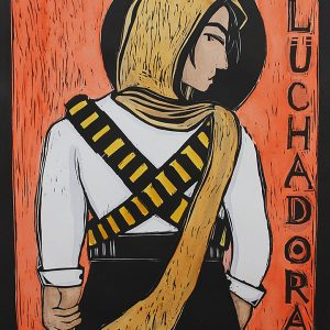 """Luchadora"", 22"" x 30"" woodblock print & watercolor with color pencil, 2018<div id=""copy"">© Karina Tavares Perez</div>"