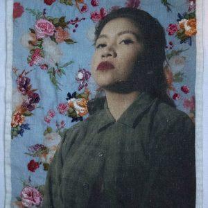 """Soy Mas de lo que Vez"", embroidered inkjet print on 100% Belgian linen, 2018 <div id=""copy"">© Jennifer Ortiz</div>"