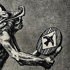 "<b>Guillermo Aranda</b> <i>Dance to Quetzalcoatl</i>, intaglio print, 10"" x 8"", 1986"