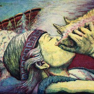 "<b>Guillermo Aranda</b> <i>Calling the Dancers</i>, intaglio print, 9"" x 8.5"", 1988"
