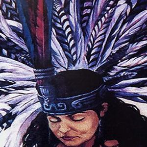 """<b>Guillermo Aranda</b> <i>Popoxcomitl</i>, acrylics, 72"""" x 38"""", 1996"""
