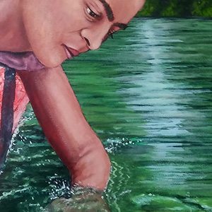 "<b>Ralph James D'Oliveira</b> <i>Frida gliding down the river</i>, acrylics, 20"" x 16"", 2017"