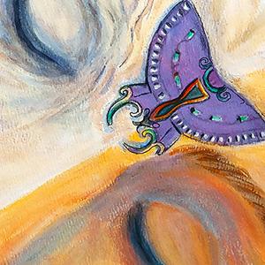 "<b>Carmen León</b> <i>Sueño</i>, acrylic painting, 31"" x 24"", 2002"