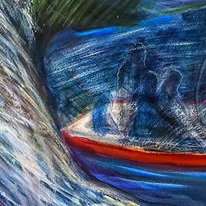 "<b>Carmen León</b> <i>Spirit Bear</i>, acrylic painting, 30"" x 26"", 2016"