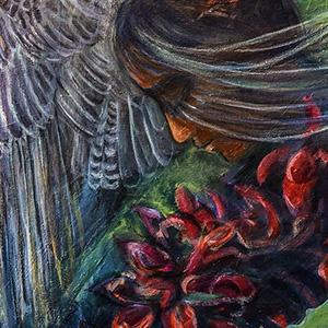 "<b>Carmen León</b> <i>My Letter to Lise</i>, acrylic painting, 36"" x 24"", 2020"