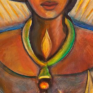 "<b>Carmen León</b> <i>Tonantzin</i>, acrylic painting, 34"" x 28"", 1987"