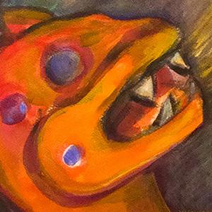 "<b>Carmen León</b> <i>Breathe Me</i>, acrylic painting, 34"" x 28"", 1989"