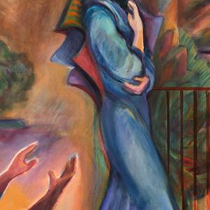 "<b>Carmen León</b> <i>Abro Mis Alas</i>, acrylic painting, 40"" x 30"", 1992"